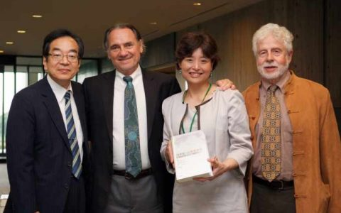 L-R: Dr, Carlos Alberto Torres (former WCCES president 2014 , Professor Otsuka Yutaka, past president of the Japanese Society of Comparative Education; Torres, Professor Shoko Yamada, Nagoya University; and Arnove. (WCCES Membsrship committee)